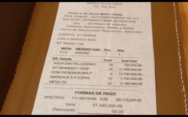 ¿Una broma? Esto se sabe sobre la supuesta cuenta de 30 millones de pesos en un restaurante de Medellín
